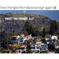 Memes, Tbh, and 🤖: they changed the hollywood sign again  DWIGHT YOU IGNORANT SLUI I like how the very first meme of 2017 happened like right away,, sums up how this year is gonna be i think. Memeingful. • • • theoffice we love theoffice dwightschrute hollywoodsign memes dwightyouignorantslut theofficequotes picoftheday cool tbh followme