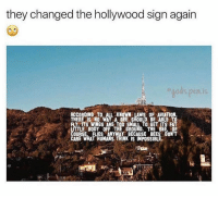 Dank, Impossibility, and Aviation: they changed the hollywood sign again  gods. pen is  ACCORDING TO L KNOWN LAWS OF AVIATION  THERE IS NO WAY A BEE SHOULD BE ABLE TO  Y ITS WINGS ARE TOO SMALL TO GET ITS FAT  LITTLE BODY OFF THE GROUND. THE BEE, OF  COURSE, FLIES ANYWAY BECAUSE BEES DON'T  CARE WHAT HUMANS THINK IS IMPOSSIBLE