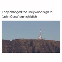 """Like us for more -> Savagery: They changed the Hollywood sign to  """"John Cena"""" smh childish Like us for more -> Savagery"""