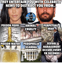 Ali, Facebook, and Food: THEY ENTERTAIN YOUWITH  CELEBRITY  NEWSTODISTRACT YOU FROM..  IGdFB  HOLISTIC  ALI  POISON FOOD  ANIMAL  PERPETUAL  CRUELTY  WAR  POISON WATER PEDOPHILIA SEXUAL  SCANDAL  HARASSMENT  OCCURS EVERY  98 SECONDS Follow ➡️ @holisticali Truth! Wake up One of the slides is from @knowledge_1s_power follow him! HolisticAli Distraction Media Celebrities IG 👉🏽 @realrawtruth FACEBOOK-YOUTUBE-SNAPCHAT 👉🏽 @holisticali SUBSCRIBE TO NEW YOUTUBE LINK IN BIO