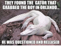white privilege: THEY FOUNDTHE GATOR THAT  GRABBED THE BOY INORLANDO  SHE WAS QUESTIONED ANDRELEASED  ingfip.com white privilege