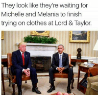 Clothes, Shopping, and Waiting...: They look like they're waiting for  Michelle and Melania to finish  trying on clothes at Lord & Taylor. <p>Can &ldquo;first lady inaugural shopping spree&rdquo; start being a new tradition?</p>