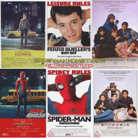 Dope, Memes, and School: THEY ONLY MET ONCE BUTIT CHANGED THEIR LIVES FOREVER  LEISURE RULEot  FERRIS BUELLER'S  ROBERT DENIRO  TAXI DRIVER  DAY OFF  One man's struggle to take it easy  OXE FOSTER ALBERT BOCKSTom HARE  LEONARDHARRIS PETER BOYLE We  SPIDER  MAN HOMECOMING  MECOMINGREAKFAST CLUEa  CYBILL SHEPHERD as Betsy  ー x RETRC POSTERS  YOU ONLY GO THROUGH HIGH SCHOOL ONCE,  HERD  SPIDER-MAN  TOM HOLLAND  SPIDER-MAN  MICHAEL KEATON JONFAUREAU ZENDAYA  HOMECOMING  One kid's struggle to become an Avenge  SPIDE R-MAN  JULY 7 Those retro posters are DOPE.🔥I think my favorite has gotta be Ferris Bueller's Day Off.👌 Which one is your favorite? ~ Lopro⚡️ (dope artwork by @nerdist )