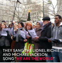 """Memes, Michael Jackson, and Singing: THEY SANG THE LIONEL RICHIE  AND MICHAEL JACKSON  """"WE ARE THE WO LD  SONG People come together in Berlin to sing in solidarity with the victims of the truck attack on a Christmas market on Monday."""