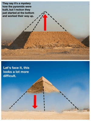 Mystery, How, and Face: They say it's a mystery  how the pyramids were  built, but I reckon they  just started at the bottom  and worked their way up.  iN  Let's face it, this  looks a lot more  difficult.