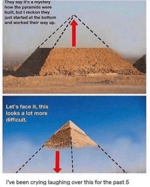 Crying, Mystery, and Been: They say it's a mystery  how the pyramids were  built, but I reckon they  just started at the bottom  and worked their way up.  Let's face it, this  looks a lot more  difficult.  i've been crying laughing over this for the past 5 hAhaHa