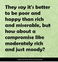 Memes, Say It, and Moderation: They say it's better  to be poor and  happy than rich  and miserable, but  how about a  compromise like  moderately rich  and just moody?  SHARED ON I'M NOTRIGHTIN THE HEAD.COM Submitted by Chalrie Gregor