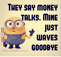 Memes, Waves, and True Story: THEY SAY MONEY  TALKS. MINE  JUST  WAVES  GOODBYE  Despicable MeMinions.org True story ~BG~