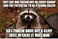 Animals, Anime, and Meme: THEY SAY ONE FRIENDOUTOFEVERY GROUP  HAS THE POTENTIAL TO BEASERIAL KILLER  SOITHREW DAVE OFFA CLIFF  UUSTIN CASE ITWASHIM Just to be safe :-) Via Animal Memes.
