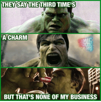 From @comicbookhq - WHO WAS YOUR FAVORITE HULK? 🤢: THEY SAY THETHIRD TIMI  A CHARM  BUT THAT'S NONE OF MY BUSINESS From @comicbookhq - WHO WAS YOUR FAVORITE HULK? 🤢
