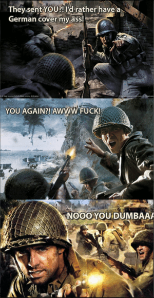 Ass, Call of Duty, and Covers: They sent YoU?! ld rather have a  German cover my ass!  of Duty developer Infinity Ward publisher Activision  YOU AGAIN?! AWWW FUCK!  NOOOYOU DUMBAA Whats really happening on the old Call of Duty covers