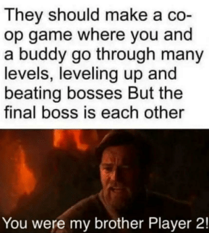 That would be amazing. by Jeff-You-Betcha FOLLOW 4 MORE MEMES.: They should make a co-  op game where you and  a buddy go through many  levels, leveling up and  beating bosses But the  final boss is each other  You were my brother Player 2! That would be amazing. by Jeff-You-Betcha FOLLOW 4 MORE MEMES.