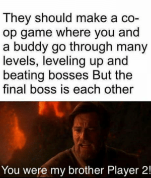 Yeah Nice idea By the way: They should make a co-  op game where you and  a buddy go through many  levels, leveling up and  beating bosses But the  final boss is each other  You were my brother Player 2! Yeah Nice idea By the way