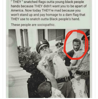 """America, Blackpeopletwitter, and Black: THEY"""" snatched flags outta young black people  hands because THEY didn't want you to be apart of  America. Now today THEYre mad because you  won't stand up and pay homage to a dam flag that  THEY use to snatch outta Black people's hand.  These people are sociopathic. <p>Kaep out here time traveling for justice. (via /r/BlackPeopleTwitter)</p>"""