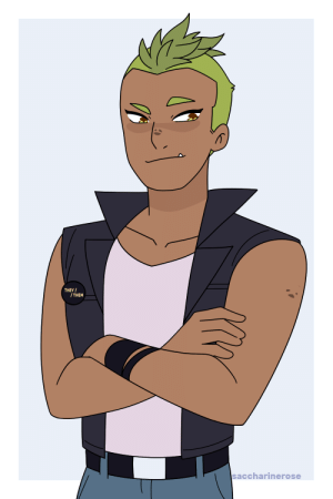 saccharinerose:  Another thing I wanted to draw again was my design for a human version of Rogelio. This time in a cool leather vest bc the Crimson Waste reptilian gang left an impact on me.–Do not tag with rep/kyle related tags please–: THEY  /THEM  saccharinerose saccharinerose:  Another thing I wanted to draw again was my design for a human version of Rogelio. This time in a cool leather vest bc the Crimson Waste reptilian gang left an impact on me.–Do not tag with rep/kyle related tags please–