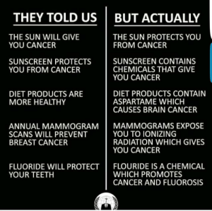 memehumor:  But actually…: THEY TOLD US BUT ACTUALLY  THE SUN WILL GIVE  YOU CANCER  THE SUN PROTECTS YOU  FROM CANCER  SUNSCREEN PROTECTS  YOU FROM CANCER  SUNSCREEN CONTAINS  CHEMICALS THAT GIVE  YOU CANCER  DIET PRODUCTS ARE  MORE HEALTHY  DIET PRODUCTS CONTAIN  ASPARTAME WHICH  CAUSES BRAIN CANCER  I MAMMOGRAMS EXPOSE  ANNUAL MAMMOGRAM  SCANS WILL PREVENT  BREAST CANCER  YOU TO IONIZING  RADIATION WHICH GIVES  YOU CANCER  FLUORIDE WILL PROTECT FLOURIDE IS A CHEMICAL  YOUR TEETH  WHICH PROMOTES  CANCER AND FLUOROSIS memehumor:  But actually…