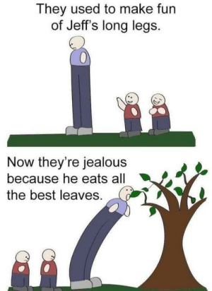 Jealous, Best, and Good: They used to make fun  of Jeff's long legs.  0  Now they're jealous  because he eats all  the best leaves. Good for Jeff