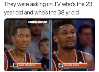 Nba, Old, and Asking: They were asking on TV who's the 23  year old and who's the 38 yr old  @NIKNAKPOD  JAMAL CRAWFORD  DEANDRE AYTON  swIS  AGE: 38  AGE: 20 Ayton look like he 35 😭😭