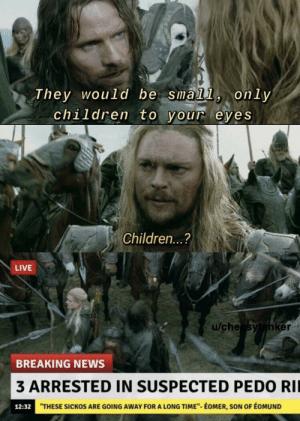 "Children, Head, and News: They would be small, only  children to your eyes  Children...?  LIVE  u/che sytanker  BREAKING NEWS  3 ARRESTED IN SUSPECTED PEDO RIL  ""THESE SICKOS ARE GOING AWAY FOR A LONG TIME""- ÉOMER, SON OF ÉOMUND  12:32 ""Aragorn was later found with 2 suicide arrows to the back of the head"""