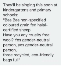 "Alation: They'll be singing this soon at  kindergartens and primary  schools:  ""Baa Baa non-specified  coloured grain fed halal-  certified sheep  Have you any cruelty free  wool? Yes gender-neutral  person, yes gender-neutral  person,  three recycled, eco-friendly  bags full"""