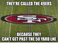 The Cowboys just dropped 40 on the 49ers https://t.co/3w4wiC7spD: THEY'RE CALLED THE 49ERS  @NFL MEME  BECAUSE THEY  CAN'T GET PAST THE 50 YARD LNE The Cowboys just dropped 40 on the 49ers https://t.co/3w4wiC7spD