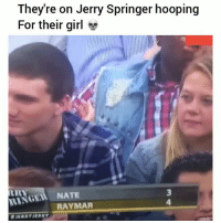 Bruh, Funny, and Jerry Springer: They're on Jerry Springer hooping  For their girl  RINGEI NATE  RAYMAR Lmao bruh😂💀 HoodClips
