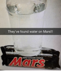 BREAKING NEWS! Nasa have announced they've found water on Mars. (Real Mars not this stupid joke). NASA Mars Space: They've found water on Mars!!!  IE  ENERGY BARBARREDENERGIE BREAKING NEWS! Nasa have announced they've found water on Mars. (Real Mars not this stupid joke). NASA Mars Space