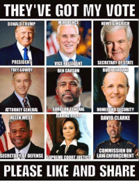 Ben Carson, Memes, and Supreme: THEY'VE GOT MY VOTE  MIKE PENCE  NEWT GINGRICH  DONALD TRUMP  PRESIDENT  SECRETARY OF STATE  VICE PRESIDENT  TREY GOWDY  RUDY GIULIANI  BEN CARSON  SURGEON GENERAL  ATTORNEY GENERAL  HOMELAND SECURITY  1,I  DAVID CLARKE  ALLEN WEST  COMMISSION ON  LAVNENFORCEMENT  SECRETARY OFDEFENSE SUPREME COURT JUSTICE  PLEASE LIKE AND SHARE