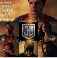 Memes, 🤖, and Speed: THEY'VE  NEVER  FACED US  BEFORE  NOT US  UNITED  CawOND  DETAWAu  WONDE Unite The League...Justice For All @henrycavill as the Metropolis Marvel @rehsifyar as the Silver Fists @gal_gadot as the Amazing Amazon ezramiller as the Sultan of Speed @benaffleck as the Caped Crusader @prideofgypsies as the Dweller in the Depths unitetheleague benaffleck brucewayne galgadot dianaprince jasonmomoa arthurcurry barryallen rayfisher victorstone henrycavill clarkkent
