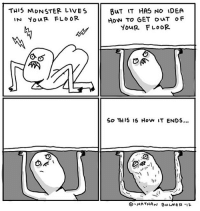 Memes, Monster, and Flo: THI5 MONSTER LIVES  IN YouR FLO OR  BuT IT HAS NO IDEA  How To GET ouT OF  YouR FLOOR  So THI5 15 How IT ENDS...  1)y