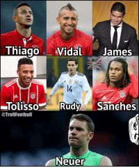 FC Bayern's midfield for next season https://t.co/IRWO3yFfeh: Thiago Vidal James  Imaqes  SOCCER?  0U MEAN  1  14  OLISSO  @TrollFootball  TolissoRudySanches  Neuer FC Bayern's midfield for next season https://t.co/IRWO3yFfeh