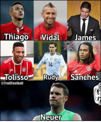 The midfield for Bayern Munich next season 😁: ThiagoVidal James  TolissoRudySanches  @TrollFootball  Neuer The midfield for Bayern Munich next season 😁