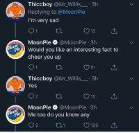 Sad, MeIRL, and Yes: Thiccboy @Mr_Willis.3h  Replying to @MoonPie  I'm very sad  13  MoonPie @MoonPie 3h  on  Pould you like an interesting fact to  cheer you up  O51  Thiccboy @Mr_Willis.3h  Yes  O13  MoonPie @MoonPie 3h  oon  ylopie Me too do you know any  O129 meirl