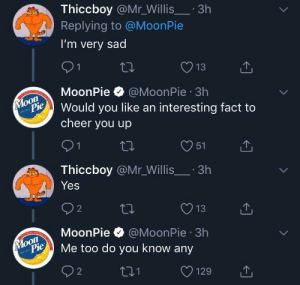 meirl by ChefYaboiardee MORE MEMES: Thiccboy @Mr_Willis.3h  Replying to @MoonPie  I'm very sad  13  MoonPie @MoonPie 3h  on  Pould you like an interesting fact to  cheer you up  O51  Thiccboy @Mr_Willis.3h  Yes  O13  MoonPie @MoonPie 3h  oon  ylopie Me too do you know any meirl by ChefYaboiardee MORE MEMES