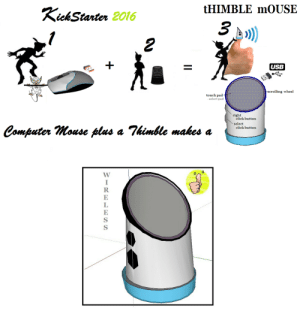 Click, Tumblr, and Blog: tHIMBLE mOUSE  Kick Stanter 2016  3  USB  scrolling wheel  touch pad  -select pad  right  click button  select  Computer Mouse plus a himble makes a  click button   WIRELESS fundraisingwebsites:  THE MOUSE - PART 1 A WIRELESS MOUSE DESIGNED  CREATED FOR COMPLETE FREEDOM. PLEASE HELP ME PAY FOR PATENTING.