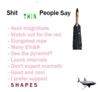 Watch Out, Cool, and Good: THIN People Say  - Ascii magnitude  - Watch out for the red  - Elongated rope  -Many $%&#  See the pyramid?  Loonk intervals  Don't expect mamoth  Good and cool  -I prefer support  SHAPES