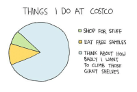 It really is tempting: THINGS DO AT COSTCO  SHOP FOR STUFF  EAT FREE SAMPLES  THINK ABOUT HOW  BADLY I WANT  To CLIMB THOSE  GIANT SHELVES It really is tempting