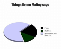 Things Draco Malfoy says  Potter  Mudblood  My father will hear  about this Things Draco Malfoy says