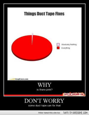 Don't Worry http://omg-humor.tumblr.com: Things Duct Tape Fixes  Absolutely Nothing  Everything  ..l GraphJam.com  WHY  is there pink?  TASTE OF AWESOME.COM  DON'T WORRY  some duct tape can fix that  TASTE OF AWESOME.COM  Hitler hated this site too Don't Worry http://omg-humor.tumblr.com
