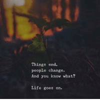 Life, Change, and You: Things end,  people change  And you know what?  Life goes on.