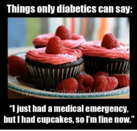 """Memes, Cupcakes, and Diabetes: Things only diabetics can say:  T Just had amedical emergency,  but had cupcakes, Sol'm fine now."""""""