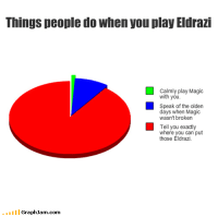 Magic, Com, and Can: Things people do when you play Eldrazi  Calmly play Magic  with you  speak of the olden  days when Magic  wasn't broken  Tell you exactly  where you can put  those Eldrazi  GraphJam.com