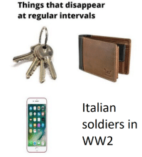 Italian Soldiers: Things that disappear  at regular intervals  Italian  soldiers in  WW2