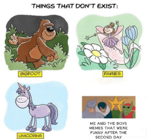 Alive, Bigfoot, and Funny: THINGS THAT DON'T EXIST  FAIRIES  BIGFOOT  ME AND THE BOYS  MEMES THAT WERE  FUNNY AFTER THE  UNICORNS  SECOND DAY Seriously, keeping it alive is the same as keeping a rabid dog alive instead of capping it like old yeller