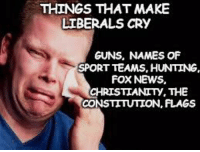 Time to put your big boy pants on.: THINGS THAT MAKE  LIBERALS CRY  GUNS, NAMES OF  SPORT TEAMS, HUNTING.  FOX NEWS.  CHRISTIANITY, THE  CONSTITUTION, FLAGS Time to put your big boy pants on.