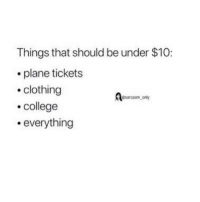 College, Funny, and Memes: Things that should be under $10:  plane tickets  .clothing  college  .everything  sarcasm ony SarcasmOnly