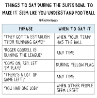 "Roger, Super Bowl, and Say It: THINGS TO SAY DURING THE SUPER BOWL TO  MAKE IT SEEM LIKE YOU UNDERSTAND F00TBALL  @KAyDENHINES  PHRASE  WHEN TO SAY IT  ""THEY GOTTA ESTABLISH  THEIR RUNNING GAME!""  ""ROGER G00DELL IS  RUINING THE LEAGUE""  ""COME ON, REF! LET  EM PLAY!  ""THERE'S A LOT OF  GAME LEFT!  ""YOU HAD ONE JOB""  WHEN ""YOUR TEAM""  HAS THE BALL  ANY TIME  DURING YELLOW FLAG  ANY TIME  WHEN OTHER PEOPLE  SEEM UPSET Super Bowl guide"