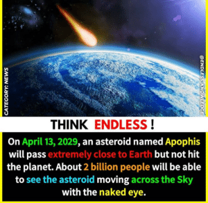 Lit, Earth, and Naked: THINK ENDLESS!  On April 13, 2029, an asteroid named Apophis  will pass extremely close to Earth but not hit  the planet. About 2 billion people will be able  to see the asteroid moving across the Sky  with the naked eye. Sozin's comet bout to be lit