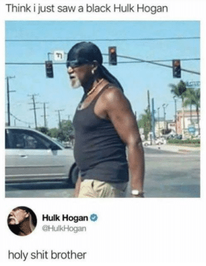 Dank, Hulk Hogan, and Memes: Think i just saw a black Hulk Hogan  Hulk Hogan  @HulkHogan  holy shit brother I Am a Real (African) American by Jeffrey_Strange MORE MEMES
