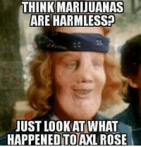 Just say no to Paradise City.: THINK MARIJUANAS  ARE HARMLESS?  JUST LOOK AT WHAT  HAPPENED AXL ROSE Just say no to Paradise City.
